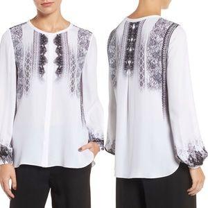 Kobi Halperin Sheri Lace-Print Silk Blouse
